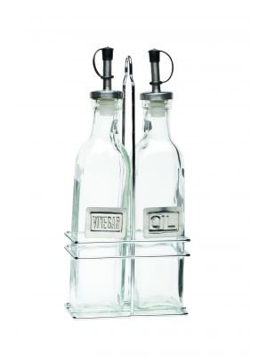 2016 Square Glass Oil & Vinegar With Chrome Stand