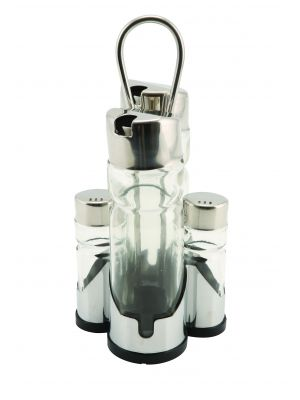 4017 Genware Oil, Vinegar & Cruet Set with Stand