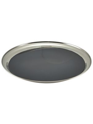 52039NS Non Slip Stainless Steel Round Tray 12IN