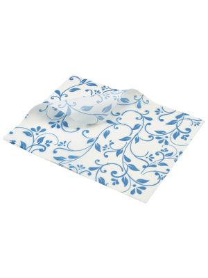 PN1487FBL Greaseproof Paper Blue Floral Print 25 x 20cm