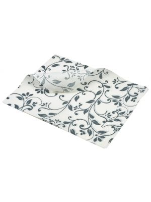 PN1487FG Greaseproof Paper Grey Floral Print 25 x 20cm