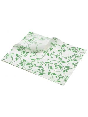 PN1487FGR Greaseproof Paper Green Floral Print 25 x 20cm