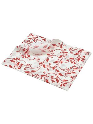PN1487FR Greaseproof Paper Red Floral Print 25 x 20cm