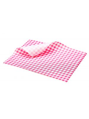 PN1487GR Greaseproof Paper Red Gingham Print 25 x 20cm