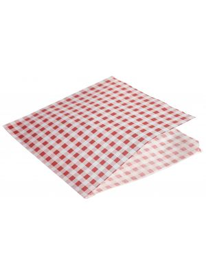 PN1487GRBG Greaseproof Paper Bags Red Gingham Print 17.5 x 17.5cm