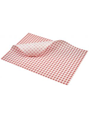 PN1487LGR Greaseproof Paper Red Gingham Print 35 x 25cm