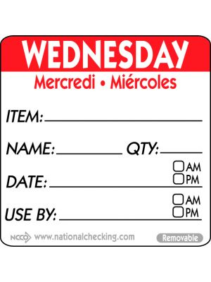 RIDU2203R 50mm Wednesday Removable Day Label (500)