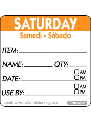 RIDU2206R 50mm Saturday Removable Day Label (500)