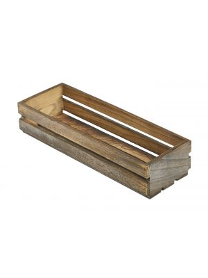 TR220 Wooden Crate Dark Rustic Finish 34 x 12 x 7cm