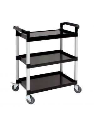 TROLPL Genware Large 3 Tier PP Trolley Black Shelves