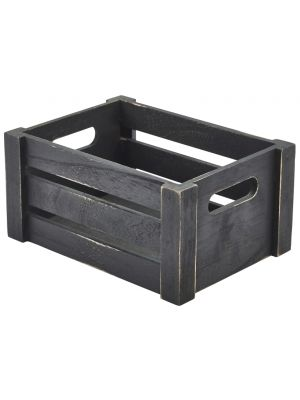 WDC-2014BK Wooden Crate Black Finish 22.8 x 16.5 x 11cm