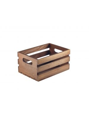 WDC-2014D Wooden Crate Dark Rustic Finish 21.5x15x10.8cm